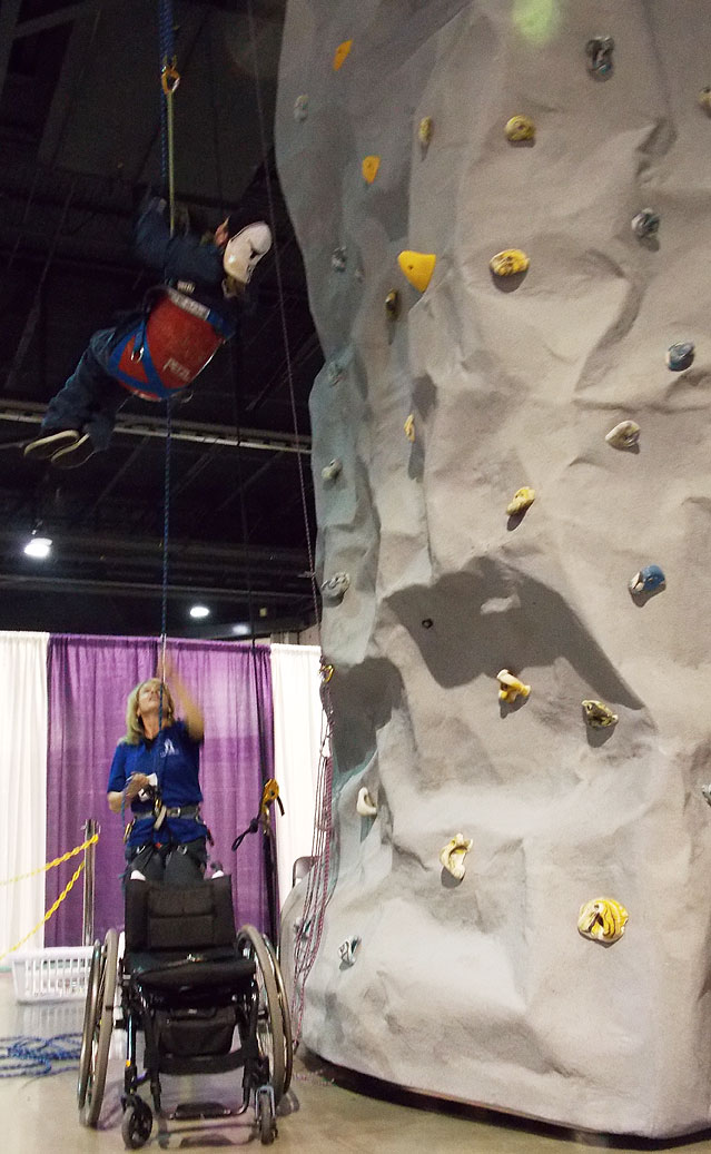 Adaptive rock climbing is safe and fun! Try it at the Abilities Expo.