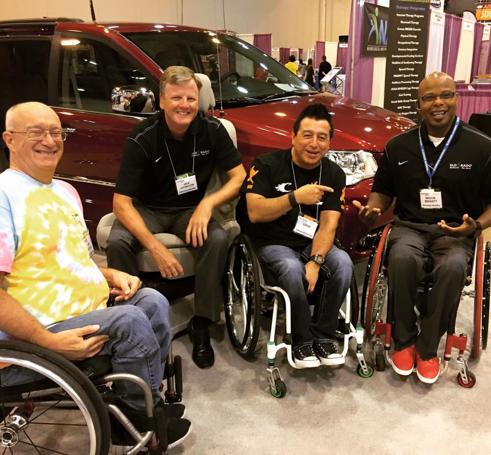 Jack and Reggie from ElDorado Mobility catch up with friends at the Houston Abilities Expo.