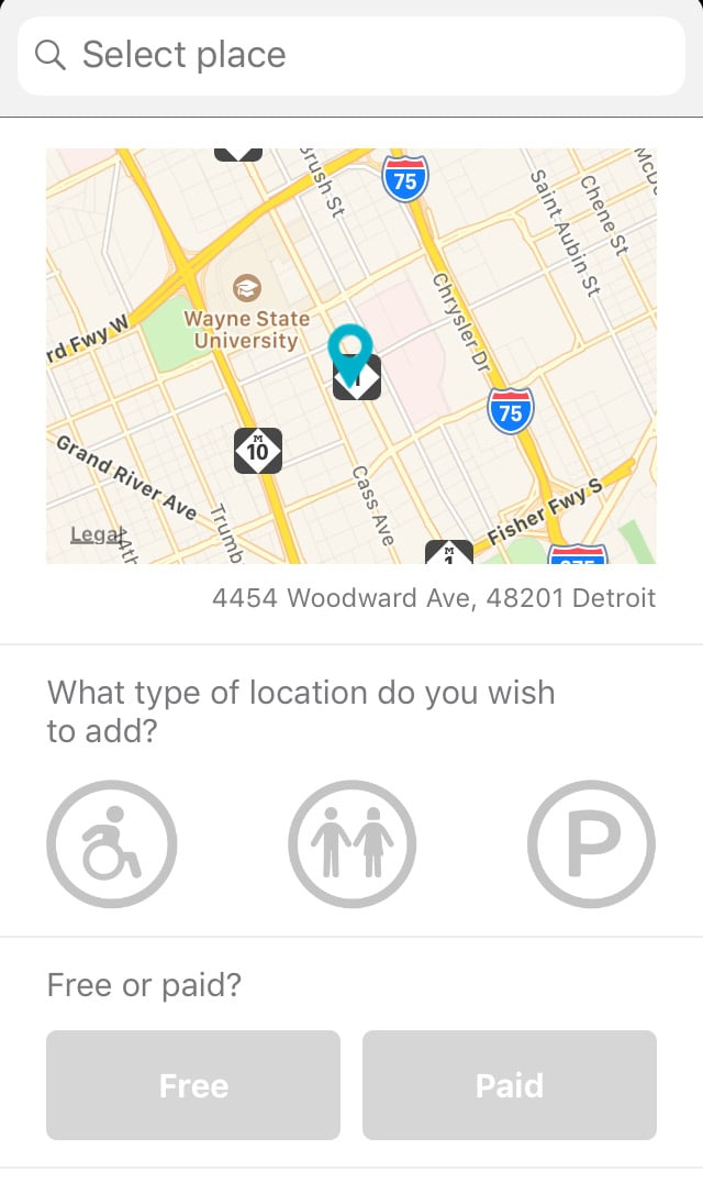 screenshot of WheelMate app showing how to add a location