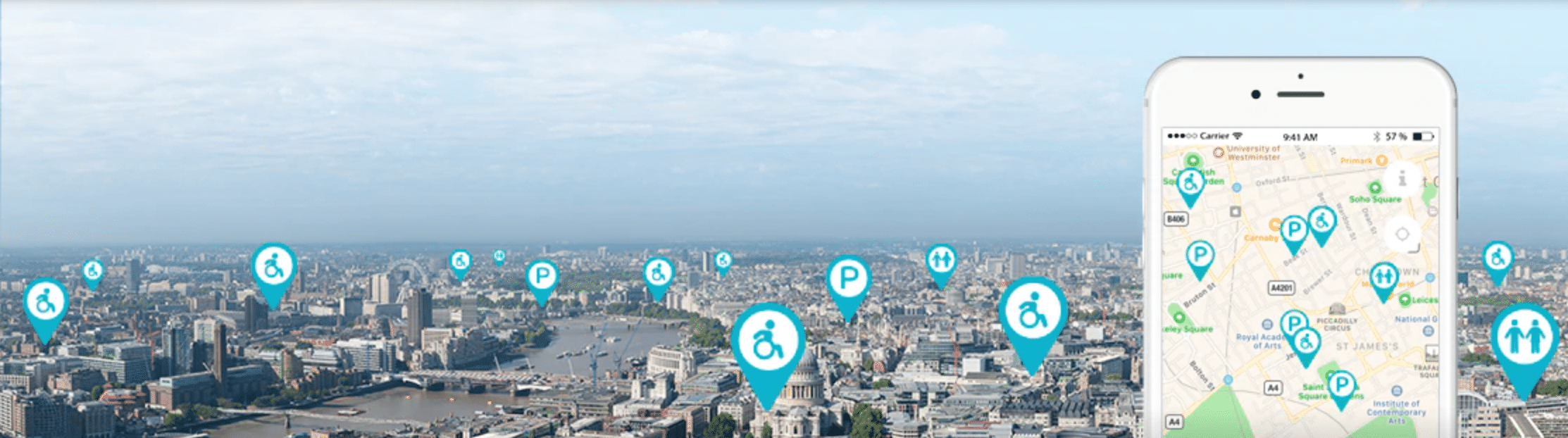 panoramic view of a city with wheelchair and parking icons floating throughout