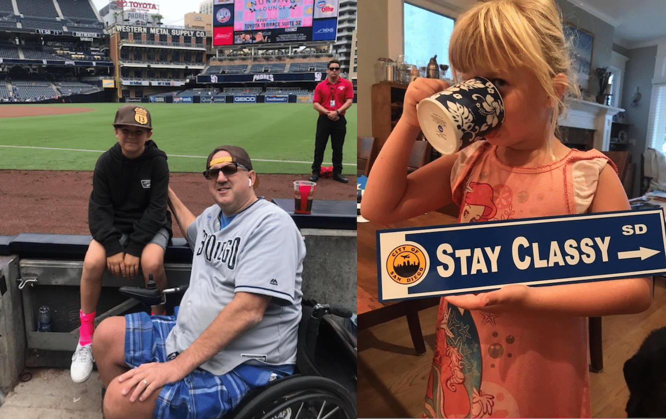 "Two photos: Stefan and his son at a baseball game, and his daughter drinking out of a mug holding a sign that reads, ""Stay Classy SD (City of San Diego)."""