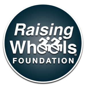 "The Raising Wheels Foundation logo. The two letter ""e""s are icons of wheelchair users."
